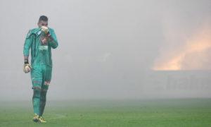 Totbalista v zeleném dresu fotbalová fotoreportáž